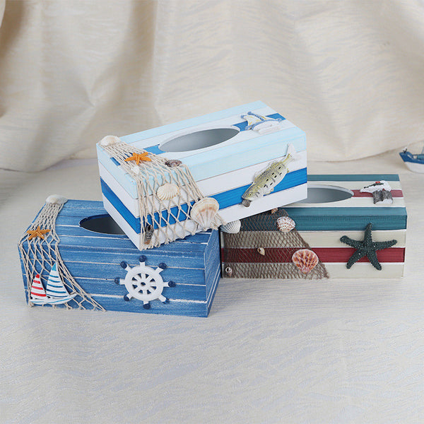 Creative Mediterranean Style Wooden Home Tissue Box Bathroom Napkin Box Hotel Tissue Box