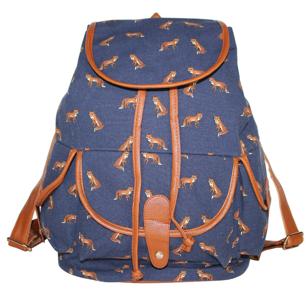 Boy Girl Cute Kawaii Fox Animal Print Canvas Backpack Rucksack School Bag