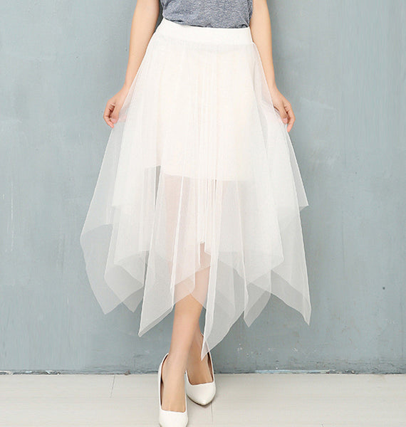 High Waist Thin Long Irregular Yarn Pompon Skirt For Women Girls