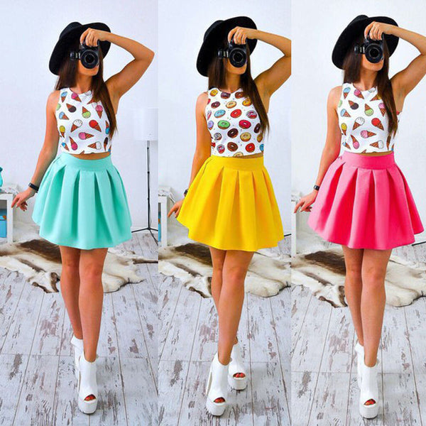 Women Candy Color Printing Sleeveless Short Top + High Waist Skirt Two Piece Suit