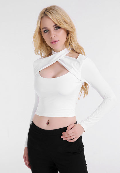 Sexy Cross Bandage Halter Long Sleeve Top Fashion Short T-shirt