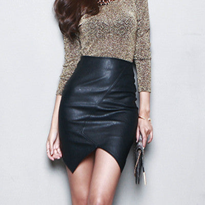 High-quality PU Leather Bodycon Sexy Split Fork Irregular High Waist Skirt