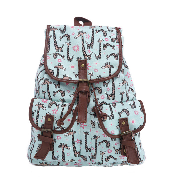 Boy Girl Cute Giraffe Print Canvas Daypack School Backpack Rucksack Causal Handbag
