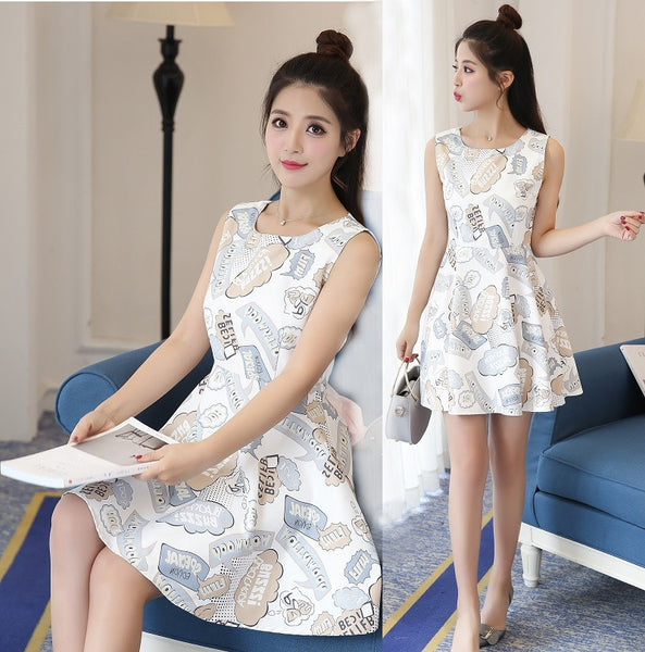 Women Girls Sleeveless Print High Waist Back Hollow Slim Short A-word Dress