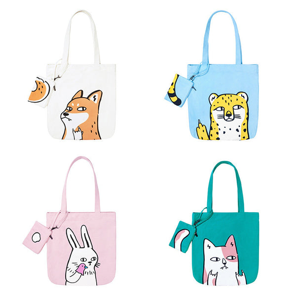 Cute Animal Cartoon Canvas High Capacity Shoulder Bags Student Two-piece Bags