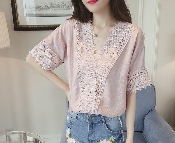 Women Cute Lace Chiffon Short Sleeve Pure Color Hollow V Collar T-shirt Blouse Tops