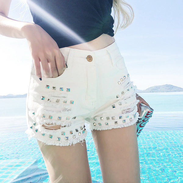 Women Sexy Rivets Slim Ripped Hole Denim Mini Shorts