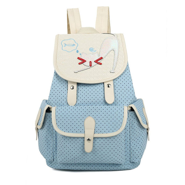 Cute Cat Wave Point Casual Flap Drawstring Canvas College School Backpack for Girls