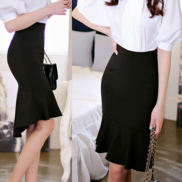 Women's Fashion High Waist Slim Bodycon Fishtail Lotus Leaf Skirt