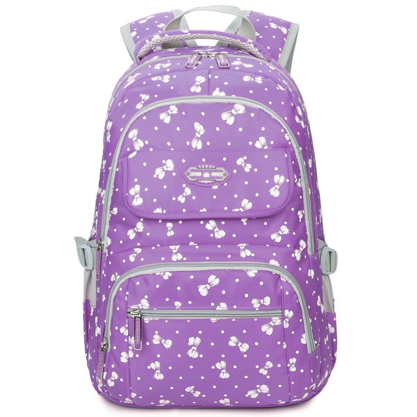 Bowknot Printed Backpack School Bookbag Kids Laptop Back Bag for Girls