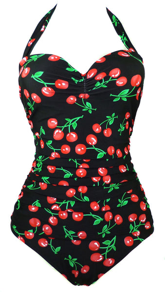Womens 50s Style Retro Vintage Cherry Printed One Piece Swimwear Swimsuit