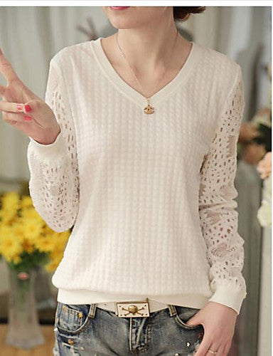 Women's Fashion Lace Hollow Hedging Striped V-neck long-sleeved Blouse T-shirt
