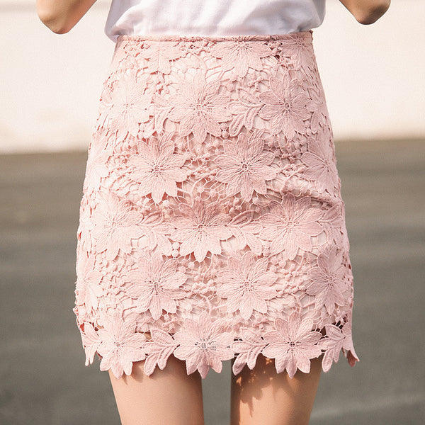 Women Girl Sexy Hook Flower Embroidery Hollow Out A-step Party Midi Skirt