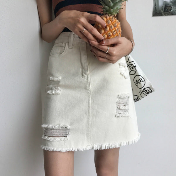 Women Girl Fashion Solid Color Irregular High Waist Ripped Denim Bodycon Mini Skirt