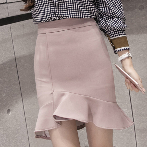 Ladies Fashion High Waist Bodycon Pure Color Fish Tail Short Skirt