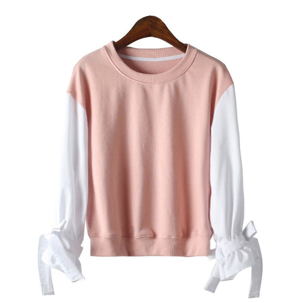 Women Girl Fashion Round Neck Sweet Pink Stitching Lantern Sleeves Loose Sweatshirt Blouse Tops