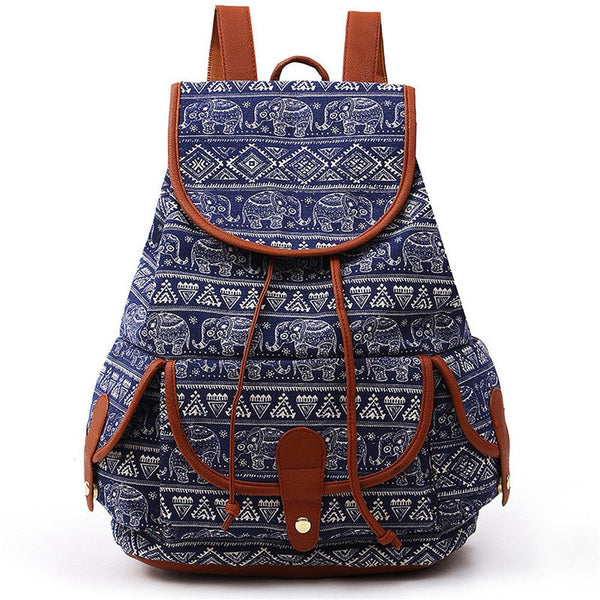 New Fashion Elephant Printed Canvas School Backpack Casual Sports Daypack for Women Girls