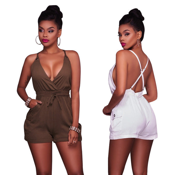 Women Sexy Deep V Neck Backless Jumpsuit Rompers