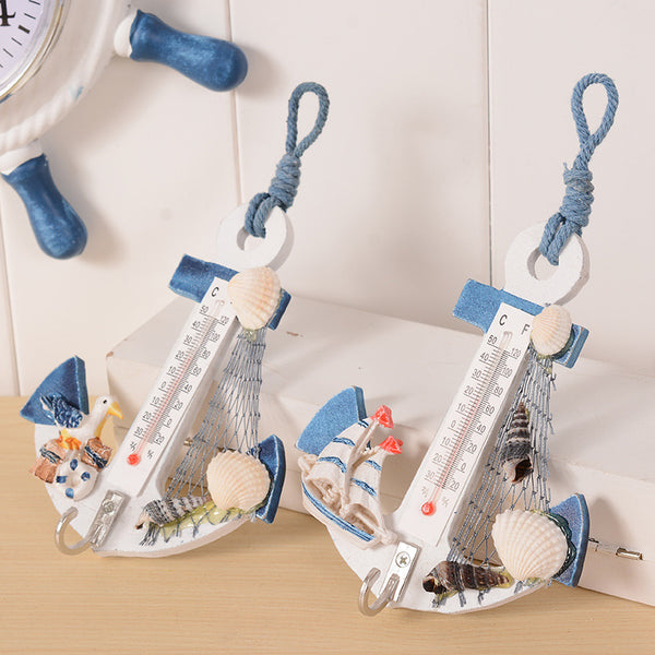 Creative Mediterranean Style Wooden Anchor Thermometer Home Wall Decoration