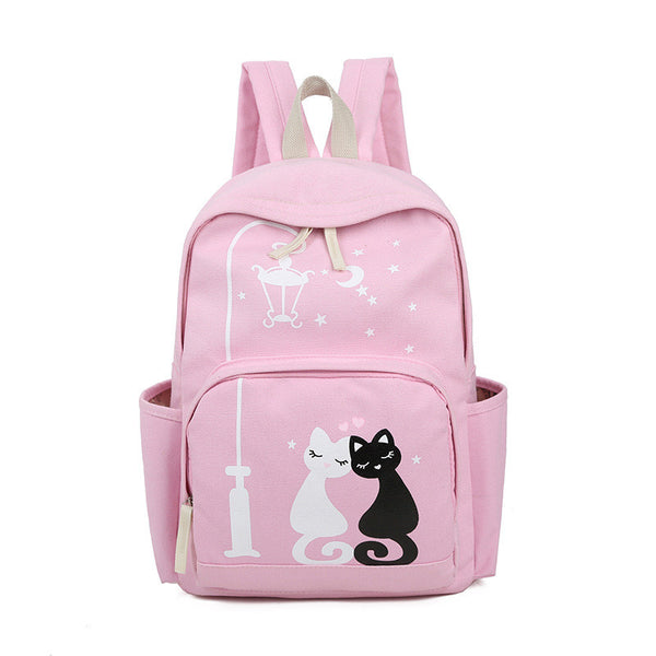 Girl Fashion Cut Little Cat Star Moon Printed Canvas Backpack Shoulder School Bag