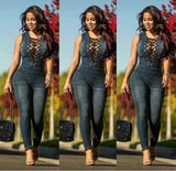 Womens Sexy Blue Denim Rompers Overalls Skinny Jeans Lace-up V Neck Sleeveless Jumpsuits Bodysuit