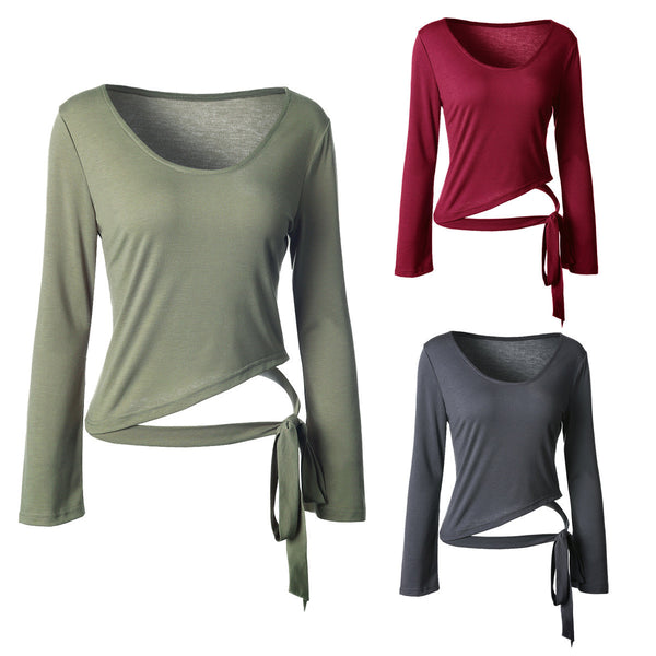 Womens Irregular Hem Belt Solid Color Horn Long Sleeve T-shirt Blouse Tops