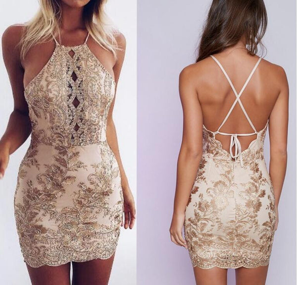 Sexy Gold Lace Halter Dress Backless Bodycon Party Dress