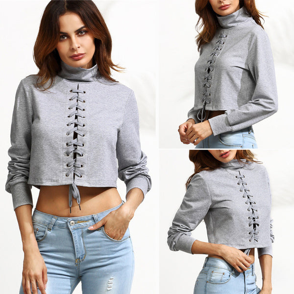 Womens Grey High-necked Long Sleeve Strap Sexy Short T-shirt Blouse Tops