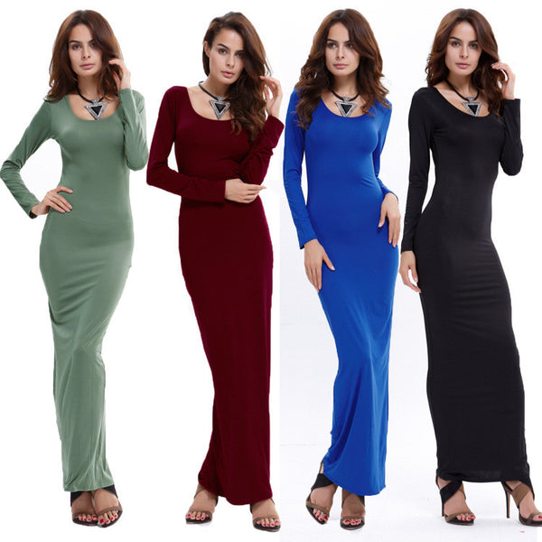 Women's Fashion Long-sleeved Round Neck Elegant Long Dress
