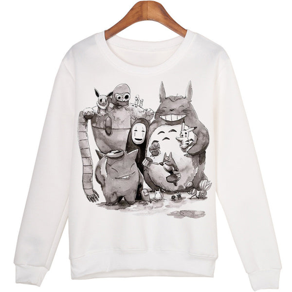 Women's 3D Totoro Print Long Sleeve Shirt Sweater Pullover Harajuku Sweatshirt