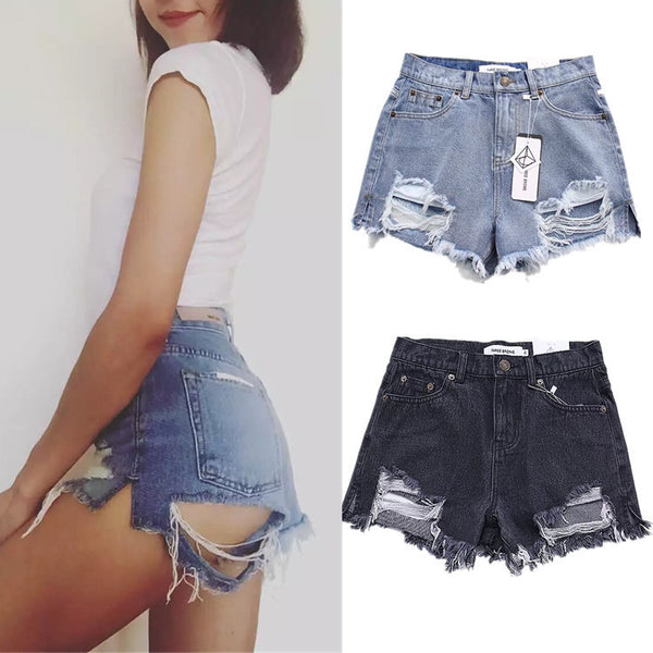 Women High Waist Holes Denim Shorts Tassel Hot Short Pants