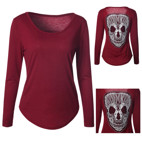 Classic Loose Back Skull Head Leisure Long Sleeve Shirt Blouse Tops