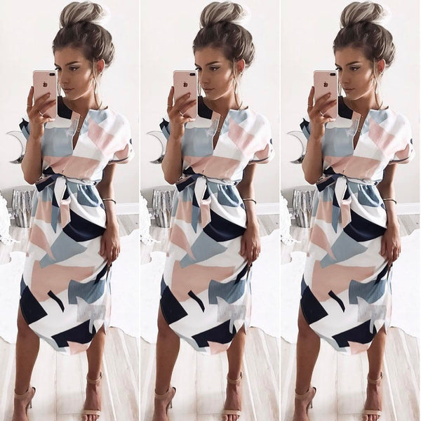 Women Sexy Deep V Neck Printing Dress Fashion Long Dress