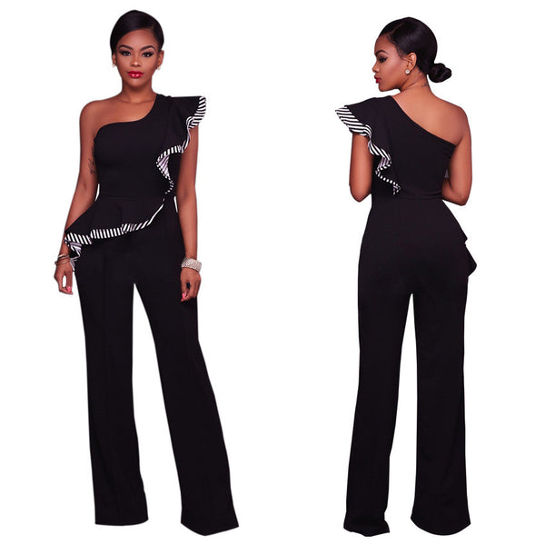 Women Sexy Off The Shoulder Flounced Jumpsuit Strapless Rompers  Wide Leg Pants