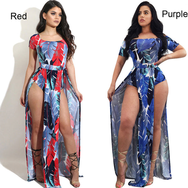 Sexy Feather Printing Split Rompers Strapless Jumpsuit Long Dress