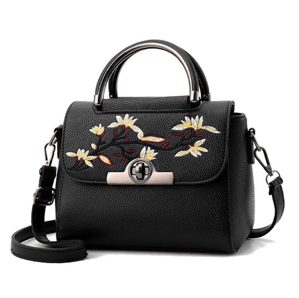 Women PU Sweet Floral Embroidery Cross Body Bag Practical Buckle Key Flap Sling Handbags