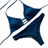 Blue Feather Print Condole Sexy Bikini Swimsuit for Womens Ladies