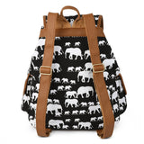Cute Elephant Print Canvas Backpack Casual School Bag Travel Daypack for Girl Boy