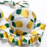 Women's Pineapple Printed Pretty Lace Bikini Set Sexy Swimsuit Bathing Suit