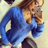 Women Sexy Deep V Hollow Out Long Sleeve Sweater Plue Size Solid Color Sweater