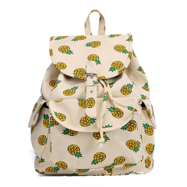 Boy Girl Cute Pineapple Print Canvas Backpack Rucksack School Bag