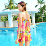 Womens Sexy Chiffon Print 3 PCS Bikini Set Swimsuit Bathing Suit Swimwear