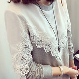 Women Fashion Loose Round Neck Lace Stitching Plus Size Leisure Long Sleeves Sweatshirt Blouse Tops