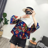 Women Fashion Floral Printing Round Neck Bohemia Loose Casual T-shirt