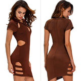 Fashionable Sexy Unique Hollow Round Neck Short Sleeve Asymmetrical Mini Dress