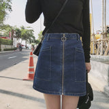 Women's Fashion Zipper Ring Washed Denim All-match A word Skirt