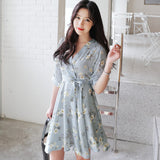 Women Girl Fashion V Neck Short Sleeve Loose All-match Thin Flower Print Chiffon Dress