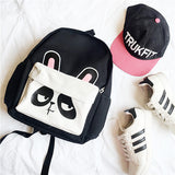 Cute Panda Canvas Backpack Animal Satchel Shoulder Bag Cat School Bag