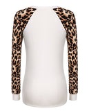 Womens Raglan Long Sleeve Leopard Print Shirt Casual Blouses Tops