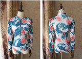 Women Sexy Printing Long Sleeves One-Piece Swimsuit Plus Size Beach Swimming Surfing Suit